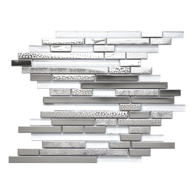 Eden Mosaic Tile - Modern Random Mixed Tile With White Glass And Textured Metal Pack (11 Sheets) - This very unique metal mosaic tile is ideal for stainless steel backsplashes. This mosaic features random length linear brick shaped stainless steel tiles and white glass tiles. There are actually three different types of stainless steel finishes on this mosaic including polished mirror stainless steel renticulate pattern and fingerprint pattern. The three stainless finishes and white glass give this metal mosaic tile a wonderful level of depth and a unique quality that cant be compared to plain single color tiles. The tiles in this sheet are mounted on a nylon mesh which allows for an easy installation. Imported.