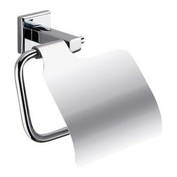 Gedy - Polished Chrome Toilet Roll Holder With Cover - Modern, stylish toilet paper holder with cover made of chromed brass.