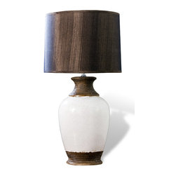 "Kathy Kuo Home - Yosemite Sand Modern Rustic Wood Sand Lamp - ""The Yosemite Sand Lamp is an unexpectedly elegant lighting option designed for those with an eye for rustic d�cor.  Featuring a curvaceous ceramic form, the midsection of this lamp is finished in antique white, boldly sandwiched between a brown bisque finish at either end.  Complemented by a chocolate-colored lampshade, the Yosemite Sand lamp is sure to suit rustic and modern interiors alike."