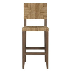 """Fiji 30"""" Bar Stool - Classic woven seating finds new expression in hand-worked envelope weave of lampakanay rope, tightly worked on the seat and back. Smoke finish to the Red Luan wood frame picks up the fiber's natural nuanced tones and coaxes out the wood's beautiful grain."""