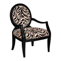 Powell - Powell Zebra Oval Back Accent Chair - This classic framed accent chair has a midnight brown finished wood frame which complements the exotic black and desert sand zebra grain fabric - 55% cotton, 45% polyester. The sleek and streamlined design livens up your home decor. Upholstered in a plush cotton and polyester blend, this piece is sure to be a statement piece in the home. Some assembly required.