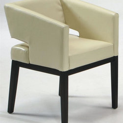 Armen Living - Contemporary Leather Arm Chair in Cream with - Dramatic design elements and a rich leather upholstered seat give this striking arm chair a modern appeal that will easily enhance any decor. Ideal as an accent chair, it features a cream upholstered seat with a cutout back accent that contrasts beautifully with its hardwood base, which is finished in a deep espresso. Contemporary Style. Great accent seating. Espresso finish wooden legs. 23 in. W x 22 in. D x 30 in. H (35 lbs.)