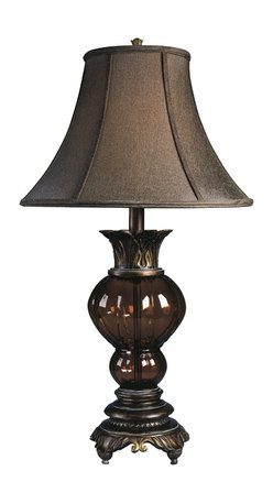"""Signature Design by Ashley - 32"""" Donna Set of 2 Table Lamps L481654 - Set of two: Metallic Copper finish with orange glass matching patterns with matching brown bell shade."""