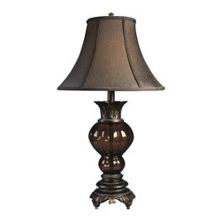 "Signature Design by Ashley - 32"" Donna Set of 2 Table Lamps L481654 - Set of two: Metallic Copper finish with orange glass matching patterns with matching brown bell shade."