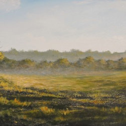 "Original Landscape Painting (Misty Morning) - Misty Morning is an original 20""x40"" acrylic on canvas landscape painting professionally framed in a 2-1/4"" wide dark brown frame and ready to hang (including 2 heavy-duty picture hangers). This large panoramic painting portrays the golden morning fog as the sun rises and washes its warm golden light throughout the meadow."