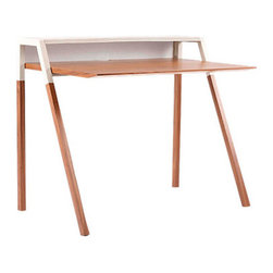 Blu Dot - Cant Desk, Grey - Especially effective in limited space, the Blu Dot Cant Desk is a great new look for an often neglected area of your home. With its upper shelf and cantilevered desktop, this small modern desk is an especially good option for apartment dwellers.