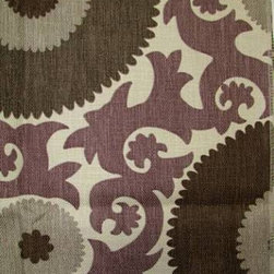 Fahri Grape Fabric - Here the suzani pattern is simplified and paired with a rich purple, brown and silver colorway. I imagine using this fabric for pillows, drapery or the back of a dining chair.