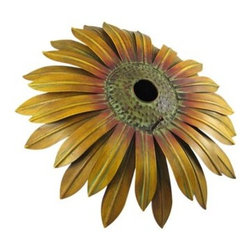 Cool Hand-Painted Metal Sunflower Birdhouse Bird House - This beautiful round hand-painted metal sunflower wall mounted bird house is an excellent addition to your garden or patio decor. The sunflower measures 16 inches in diameter, with a 1 5/8 inch round opening for birds to enter. Featuring wonderful personality, with beautiful earth tones, this birdhouse makes a great housewarming gift or present for gardening hobbyists. This beautiful piece of metal art is brand new, never displayed.