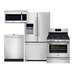 """Frigidaire - FFHB2740PS 36"""" Freestanding French Door Refrigerator 4-Piece Stainless Steel Kit - 267 cu ft capacity and over 100 ways to organize and customize your refrigerator this refrigerator can store anything you wantA large capacity Cool Zone drawer extends completely and provides space to easily store anything from sheet cakes and large ..."""
