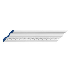 """Inviting Home - Tifton Crown Moulding - Tifton crown moulding 4-1/4""""H x 4-1/4""""P x 6-1/8""""F x 7'10""""L repeat - 1-5/8"""" 4 piece minimum order required crown molding specifications: - outstanding quality crown molding made from high density polyurethane: environmentally friendly material is hypoallergenic and fully recyclable no CFC no PVC no formaldehyde; - front surface of this molding has extra durable and smooth surface; - crown molding is pre-primed with water-based white paint; - lightweight durable and easy to install using common woodworking tools; - metal dies were used for consistent quality and perfect part to part match for hassle free installation; - this crown molding has sharp deep and highly defined design; - matching flexible molding available; - crown molding can be finished with any quality paints; Polyurethane is a high density material--it's extremely lightweight and easy to install (and comes primed and ready to paint). It is a green material meaning its CFC and formaldehyde free. It is also moisture resistant--so it won't shrink flex or mold. What's also great about Polyurethane is that it's completely customizable and can be treated as wood (you can saw it nail it screw it and sand it). In addition our polyurethane material comes primed and ready to paint. There is a four piece minimum requirement for this molding purchase."""