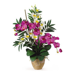 Nearly Natural - Double Phal/Dendrobium Silk Flower Arrangemen - Not for outdoor use. A stylish mix two orchids. Filled with lush foliage from both orchids. Beautifully stylish ceramic pot. Included container size: 7 in. W X 5.5 in. H24 in. W X 16 in. D X 29 in. H (6lbs). If you're looking for an exquisite one of a kind piece then stop right here. This silk orchid arrangement is an exciting mixture of two classic phalaenopsis orchid stems that intertwine with two dendrobium stems. You also notice shoots of bamboo and gorgeous green leaves that help to complete the warm tropical feel of this unbelievable piece. Standing 29 in tall and set in a timeless ceramic pot this silk orchid arrangement is sure to charm the masses.