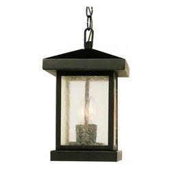 Joshua Marshal - Two Light Weathered Bronze Amber Seeded Glass Hanging Lantern - Two Light Weathered Bronze Amber Seeded Glass Hanging Lantern