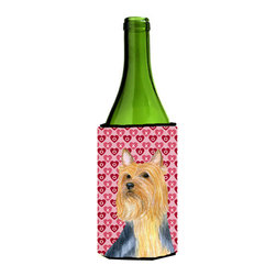 Caroline's Treasures - Silky Terrier Hearts Love Valentine's Day Portrait Wine Bottle Koozie Hugger - Silky Terrier Hearts Love and Valentine's Day Portrait Wine Bottle Koozie Hugger Fits 750 ml. wine or other beverage bottles. Fits 24 oz. cans or pint bottles. Great collapsible koozie for large cans of beer, Energy Drinks or large Iced Tea beverages. Great to keep track of your beverage and add a bit of flair to a gathering. Wash the hugger in your washing machine. Design will not come off.