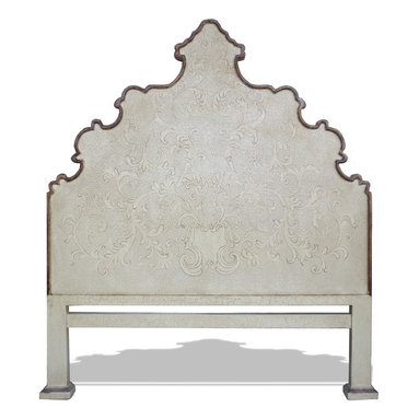 Bedroom Furniture - Here is one of our bold and detailed floral headboards. It has a strong bold outline to compliment the intricate floral design but it is soft enough not to overwhelm the beautiful hand painted thin lines. See more at: www.Koenigcollection.com