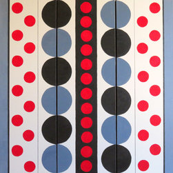 "Vivian Stearns-Kohler/Etoile Creations - Acrylic Painting - Triptych - ""Op Art 1"" - Op art triptych (3 panels) each is 12 wide x 36 height...together 36"" x 36"".  Circles and half circles in colors of red, black and gray offset by stripes of black and gray.  The panels may be rearranged to create additional looks horizontally or vertically.  The artwork appears to be moving due to the precise, mathematically placed composition."