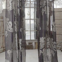 "Couture Dreams Enchantique Slate Grey Linen Gauze Panels - Couture Dreams Enchantique Linen Gauze Window Panels are what we like to call a French inspired Art Deco with a Modern Twist. Truly beautiful and unique these rustic chic linen gauze window panels are each hand printed with a large decorative motif. Offered in three different colorways and lengths, these panels are sure to dress up any room. These window panels can be combined with any type of home decor from modern to traditional. Panels hang on a 4"" rod pocket, which can either slide directly onto the pole or can hang from rings with clips. They are made from fine, premium quality 100% linen gauze fabric which is delicate and refined."