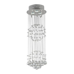 Warehouse of Tiffany - Crystal Shower Chandelier - Add this dynamic Crystal Shower Chandelier to your home for a modern take on lighting. The chandelier features a beautiful shower of crystals from the top of the three light fixture, down to crystal orbs at the bottom.Crystal Shower ChandelierSetting: IndoorFixture finish: ChromeNumber of lights: Three (3)Required three (3) 50 watt bulbs (not included)Dimensions: 10 inches in diameter x 30 inches in heightMaterials: Stainless steel and crystalThis fixture does need to be hard wired. Professional installation is recommended.CSA Listed, ETL Listed, UL Listed