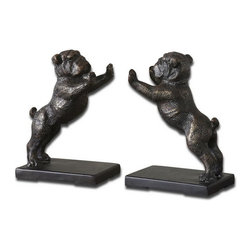 Uttermost - Uttermost 19643  Bulldogs Cast Iron Bookends, Set/2 - These adorable bookends are made of cast iron and finished in heavily, distressed golden bronze with a dark gray glaze.