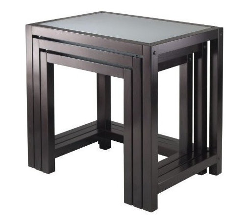 Winsome Trading, INC. - Winsome Copenhagen Nesting Tables - Set of 3 - Copenhagen nesting tables is elegant and modern. Group them together or use them individually to around the house. Made from solid/composite wood in dark espresso finish. Tempered frosted glass tops. Large 23.15-inch w by 16.34-inch d by 21.65-inch h, med 20-inch w by 14.96-inch d by 19.88-inch h, small 16.85-inch w by 13-1/28-inch d by 18.11-inch h. Assembly require.