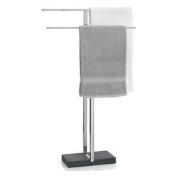 "Blomus - Blomus Menoto Towel Rack - Simple and understated this stainless steel free standing towel rack with stone base is a very elegant addition to any  bathroom. Dimensions: 19.7""W x 6.3""D x 35.11""H"