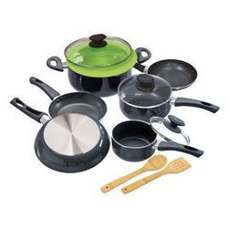 """Epoca - Elements Cookware Set Grey - Cook well and Do Good with this Ecolution Eco-Friendly 12 Pc. Elements aluminum Cookware Set. Keep cool handles are comfy to grip and stay cool. Oven safe to 350 degrees F. Pure aluminum insures consistent heating--even heating equals happy eating. Non-stick Hydrolon coating is an ecologically advanced water based coating that is made without PFOA for fewer greenhouse gases. Glass lids let you see what's cooking without letting heat escape. Dishwasher Safe. Set includes: 8"""" Fry Pan 9-1/2"""" Fry Pan 11"""" Fry Pan 1 Qt. Saucepan with Glass Lid 2 Qt. Saucepan with Glass Lid 5 Qt. Dutch Oven with Glass Lid Collapsible Silicone Steamer Bamboo Spoon and Bamboo Spatula."""