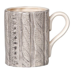 """Cable-knit Heather Gray Mug - Hot cocoa or coffee on a winter's morning would certainly taste better in this cable-knit mug. It really puts a new twist on the term """"coffee cozy."""""""