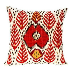 "Jules Pansu - Bali Ikat Tapestry Pillow - Since 1878 Jules Pansu {Paris} has created & manufactured some of the most beautiful wall tapestries and fabrics available anywhere. And now their collection includes exquisite home accessories that use the time honored tradition of jacquard weaving and lead the way in innovative textile design. Today Jules Pansu celebrates 130 years of enriching homes with vivid colors, savoir-faire and innovation. Features: -Color: Red Multi. -Material: Cotton twill. -Insert filled with 95% white goose feathers / 5% white goose down. -210 Thread count. -Dry clean only. Dimensions: -18"" W x 18"" D, 2 lbs."