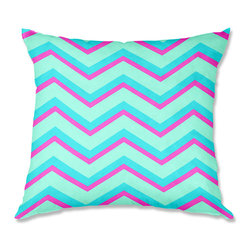 DiaNoche Designs - Pillow Woven Poplin by Monika Strigel Fairy Heaven Mint II Chevron - Toss this decorative pillow on any bed, sofa or chair, and add personality to your chic and stylish decor. Lay your head against your new art and relax! Made of woven Poly-Poplin.  Includes a cushy supportive pillow insert, zipped inside. Dye Sublimation printing adheres the ink to the material for long life and durability. Double Sided Print, Machine Washable, Product may vary slightly from image.