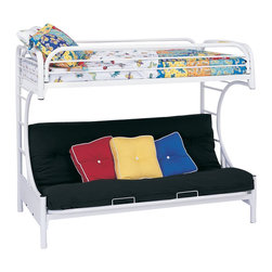 Coaster - Coaster C Style Metal Twin over Futon Bunk Bed in White Finish - Coaster - Bunk Beds - 2253W - Coaster brings innovative furniture at competitive prices to your home.The Coaster bunk beds are great space savers for your kids' room. With a sturdy metal construction and black finish this twin over futon bunk bed will be perfect for boys or girls alike.Features: