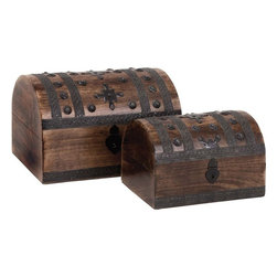 """Benzara - Set of 3 Contemporary Wood Metal Box - Redefine the magnificence with this Wood Metal Box S/2 14"""", 11""""W. Its stunning design will captivate your heart and mind. Elegantly shaped like an Oriental style trunk, this box set has two wooden boxes that can be used as decor pieces. Elaborately detailed with ornate metal strips and carved metal rivets, this box set combines opulence with style. The nice wooden box set can be used as a decor piece on coffee tables, shelves, or as a storage option for jeweler and other knick-knacks. The attractively designed crescent lid is secured with a vintage style hinge latch, which gives this box set a classic, rustic look. Beautifully crafted from premium grade wood and metal, this wooden box set promises durable, lasting usage..; Box set promises durable, lasting usage; Shaped like an Oriental style trunk; Detailed with ornate metal strips and carved metal rivets; Can be used as a decor piece; Weight: 6.17 lbs; Dimensions:14""""W x 9""""D x 9""""H; 11""""W x 7""""D x 7""""H"""