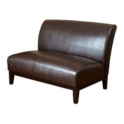 Great Deal Furniture - Massimo Leather Loveseat, Brown - The Massimo Loveseat is upholstered in smooth bonded leather and stands on brown wooden legs. Its size, simplicity and stylish design makes this piece perfect for any small space.