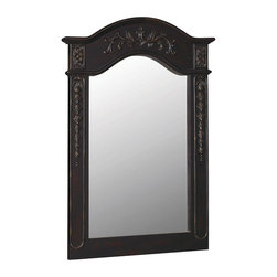 World Imports - Belle Foret 24in.  X 36in.  Wall Mirror, Hand Rubbed Black - *Traditionally-styled carved portrait vanity mirror
