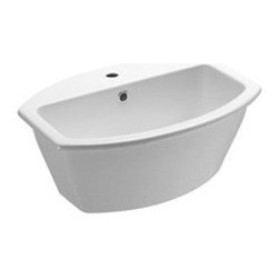 GSI - Deep Oval Ceramic Self Rimming Bathroom Sink, One Faucet Hole - This modern and contemporary oval shaped deep bathroom sink is a perfect addition to your bathroom setting. Self rimming sink made out of high quality ceramic in a white finish. Sink includes overflow and has option for no faucet hole or a single faucet hole. Made in Italy by GSI.