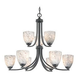 Design Classics Lighting - Modern Chandelier with Grey Art Glass in Matte Black Finish - 586-07 GL1025MB - Contemporary / modern matte black 9-light chandelier. Takes (9) 100-watt incandescent A19 bulb(s). Bulb(s) sold separately. UL listed. Dry location rated.