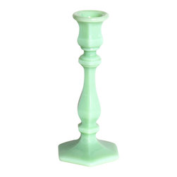 Mosser Glass, USA - Candlestick - Jadeite - Add charm to simple candlesticks, and height to your table setting with the mini jadite holder.