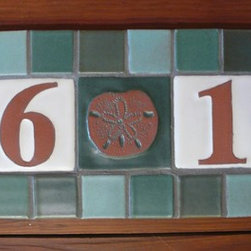 Beach House Address Plaque - Address plaque with 4 in. x 4 in. number tiles and sand dollar tile accent.  Set, grouted and ready to install.