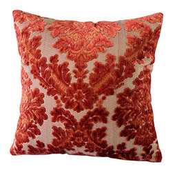 14 Karat Home - Thierry Pillow - This vibrant cut velvet pillow creates an instant fresh and rich focal point.  The deep ridged damask pattern is soft and fits in perfectly in any traditional setting.  This knife-edge pillow reverses to a solid color backing to match the rich burnt orange color in the damask pattern.
