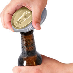 Fred & Friends - CRUSHED! Bottle Opener - Anybody can crush a beer can on their forehead. Now you can up the ante by opening a bottle with your crushed can. Yes, there's sturdy metal opener hidden on the bottom of what looks like a crushed-beyond-hope can. Crushed is packaged in a tamper-proof PET-G clamshell.