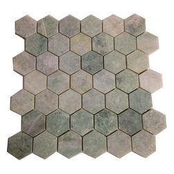 """Marbleville - Ming Green 2"""" Hexagon Polished Onyx Mosaic in 12"""" x 12"""" Sheet - Premium Grade Ming Green 2"""" Hexagon Pattern Polished Finish Mesh-Mounted Marble Mosaic is a splendid Tile to add to your decor. Its aesthetically pleasing look can add great value to any ambience. This Mosaic Tile is made from selected natural stone material. The tile is manufactured to high standard, each tile is hand selected to ensure quality. It is perfect for any interior projects such as kitchen backsplash, bathroom flooring, shower surround, dining room, entryway, corridor, balcony, spa, pool, etc."""