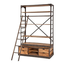 #N/A - Brodie II - Brodie II . Natural Wood And Iron Bookcase With Drawers, Ladder, And Removeable Shelves. Width: 60 in. Depth: 18 in. Height: 96 in.