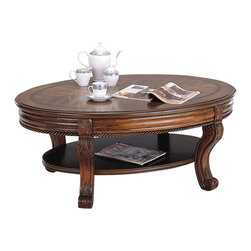 Yuan Tai - Athens Oval Cocktail Table in Cherry Finish - Bottom shelf. Intricate carvings. Scrolled feet. Distressed finish. Warranty: Six months limited. Made from solid and wood veneers. Assembly required. 50 in. W x 34 in. D x 19 in. H (77 lbs.)