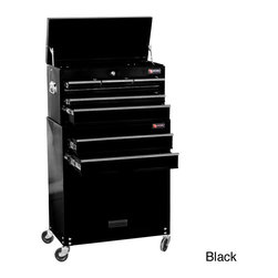 Excel - Excel 24-inch 8-drawer Tool Chest and Roller Cabinet Combination - Materials: SteelTop lid,front drawers,and front storage cabinetColor: Black