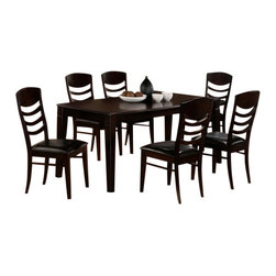 "CBCosmos - 7-Piece Cosmos Collection Espresso Finish Wood Dining Table Set - 7-Piece Cosmos collection espresso finish wood dining table set with leather like upholstery on the seats. This set includes the table with thick tapered legs and 6 side chairs upholstered in a leather like seat and curved horizontal slats on the chair backs. Table measures 40"" x 72"" X 30"" H. Some assembly required."