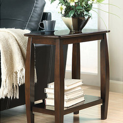 None - Dark Walnut Finish Wooden Chair Side End Table - Add plenty of storage space with this elegant side table. The walnut finish adds warmth to any room, while the lower shelf has room to store your favorite magazines or a folded throw.