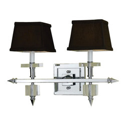 AF Lighting - AF Lighting Candice Olson Cluny 2-Light Vanity-Chocolate Shades - Crystal and Chrome with Chocolate Poly Silk Shades  Overall dimensions are 14 in. H x 19 in. W x 9 in. Ext.