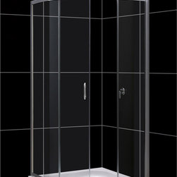 "BathAuthority LLC dba Dreamline - Solo Frameless Sliding Shower Enclosure, 36 3/8""D x 36 3/8""W x 72""H, Clear Glass - The Solo shower enclosure opens up the look of a smaller bathroom with a fresh modern style. Graceful lines accentuate the quarter round enclosure with beautifully curved tempered glass. The innovative design is a smart solution where space is limited. The sliding door creates a comfortable opening without claiming the space required for a swing door. Combine this enclosure with a DreamLine acrylic shower base and backwalls system for a streamlined installation."