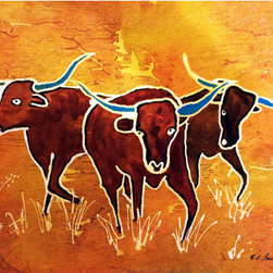 """The Longhorns"" (Original) By Elizabeth Sullivan - I'M A Texas Artist - What Can I Say?  Gotta Paint Some Longhorns.  I Live In A Small Texas Town.  On A Couple Of Different Streets You Can Drive Along And See House, House, House, Field Of Longhorns, House, House, Field Of Horses, House.  Yes, Really, Right In Town.  I Actually Live One Block Off Main Street And Keep 13 Chickens In The Backyard.  Most People Keep A Chicken Or Two, If Not A Longhorn.  I Dug Up The Front Yard For Garden Space.  And Old Possum Will Hiss At Me Over The Cat Food I Left On The Front Porch.  I Laugh, But I Love It.  These Longhorns Come From My Imagination Of The Wild Ones That Used To Roam Around This Part Of Texas, But For Models, They'Re Just Down The Block."