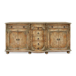 King Lima Sideboard, Turquoise and Natural Brown Distressed - King Lima Sideboard, Turquoise and Natural Brown Distressed