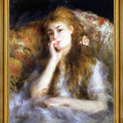 "Pierre Auguste Renoir-16""x20"" Framed Canvas - 16"" x 20"" Pierre Auguste Renoir A Thinker (also known as Seated Young Woman) framed premium canvas print reproduced to meet museum quality standards. Our museum quality canvas prints are produced using high-precision print technology for a more accurate reproduction printed on high quality canvas with fade-resistant, archival inks. Our progressive business model allows us to offer works of art to you at the best wholesale pricing, significantly less than art gallery prices, affordable to all. This artwork is hand stretched onto wooden stretcher bars, then mounted into our 3"" wide gold finish frame with black panel by one of our expert framers. Our framed canvas print comes with hardware, ready to hang on your wall.  We present a comprehensive collection of exceptional canvas art reproductions by Pierre Auguste Renoir."