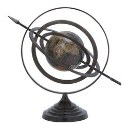 Benzara - Metal Globe with Beautiful Stable Design and Stable Base - Excite the passion for geographic exploration with this accurately designed globe that also enhances your table decor. This Aluminum Globe with Beautiful Stable Design & Stable Base is securely set in the midst of concentric circles that enable accurate determination of locations though simple adjustments. These circles are based on the rotational axis, and an arrow runs through from one end to another traversing the globe. The exact marking of latitudes and longitudes on this globe will be quite helpful for any geography lover. This durably designed learning aid has the adequate endurance to last for a long time. The base is designed so as to provide a stable platform for the globe apparatus to rest on. Made of high quality aluminum, this globe will make for a hassle-free use. When placed in a study room, it is sure to create a suitable ambience for study and research. It will inspire to know more about the world..